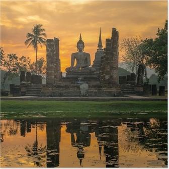 Poster Boeddhabeeld in Wat Mahathat tempel, Sukhothai Historical Park,
