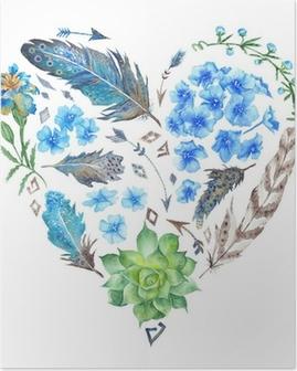 Póster Boho Style Watercolor Heart Shape