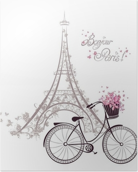 Bonjour Paris text with Eiffel Tower and bicycle Poster