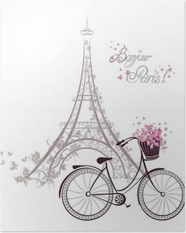 Poster Bonjour texte Paris avec la tour Eiffel et vélo