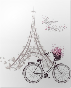 Póster Bonjour texto de París con la Torre Eiffel y de la bicicleta