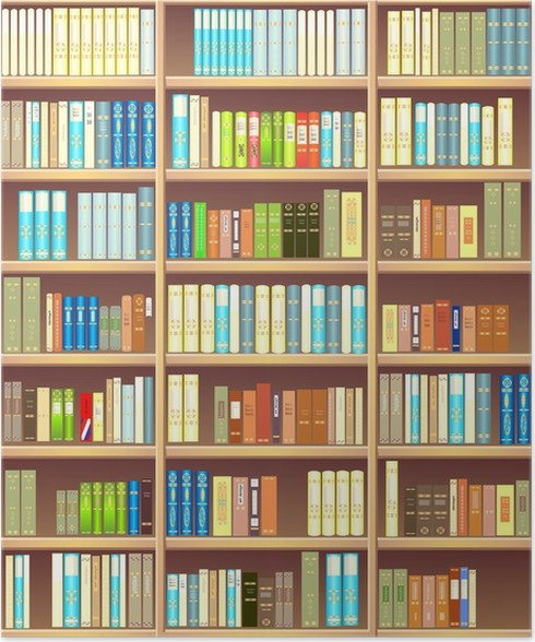 Bookcase full of different colorful books Poster • Pixers® • We live ...