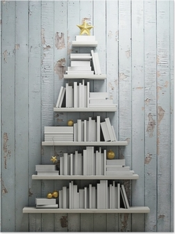 Bookshelf Shaped Christmas Tree Background Poster