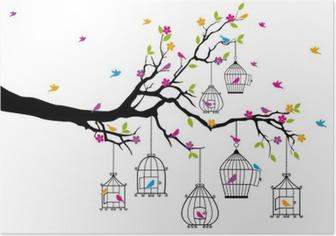 Poster Boom met vogels en vogelkooien, vector