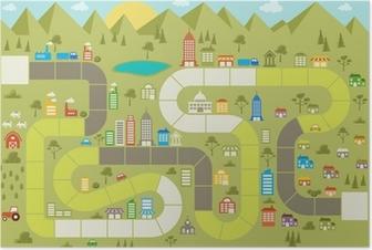 Poster Bordspel met een blok pad op de stad