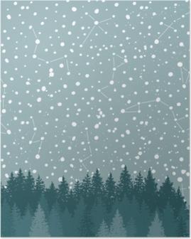 Poster Bos en nachtelijke hemel met sterren vector achtergrond. ruimte achtergrond.