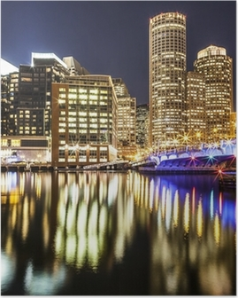 Boston Harbor and Financial District at Night Poster