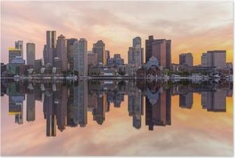 Poster Boston skyline van het centrum panorama