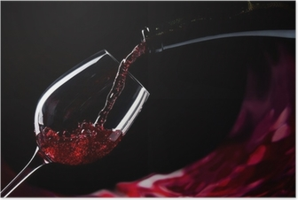 bottle and glass with red wine Poster