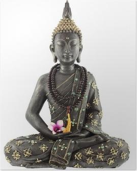 Póster Bouddha avec chapelet de prière et fleur d'orchidée