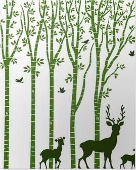 Poster Bouleau avec des cerfs