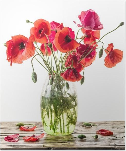 Poster Bouquet De Fleurs De Pavot Dans Le Vase Sur La Table En Bois
