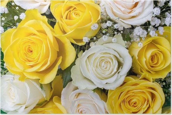 Poster Bouquet De Roses Jaunes Et Blanches Pixers Nous Vivons