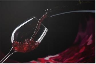 Poster Bouteille et un verre de vin rouge