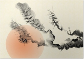 Branches of an old Pine tree, drawn in the style of sumi-e. Poster