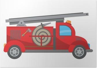 Poster Brandweerwagen cartoon
