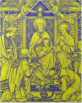 Poster BRATISLAVA, SLOVAQUIE, NOVEMBRE - 21, 2016: La lithographie des Trois Mages en Missale Romanum par l'artiste inconnu avec les initiales FMS de fin de 19. cent. et imprimé par Typis Friderici Pustet.