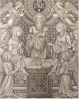 Poster BRATISLAVA, SLOVAQUIE, NOVEMBRE - 21, 2016: La lithographie Présentation au Temple par l'artiste inconnu avec les initiales FMS (1893) et imprimés par Typis Friderici Pustet.