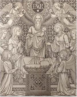 Poster BRATISLAVA, Slowakije, november - 21, 2016: De lithografie van de presentatie in de tempel door onbekende kunstenaar met de initialen FMS (1893) en gedrukt door Typis Friderici Pustet.