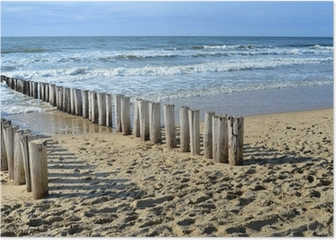 breakwaters on the beach at the north sea in Domburg Holland Poster