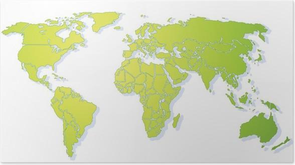 Bright green shiny stylized world map with drop shadow xxl poster bright green shiny stylized world map with drop shadow xxl poster holidays gumiabroncs Choice Image