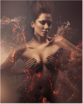 Poster Brinnande erotiska sexig vacker kvinna i smutsig dimma