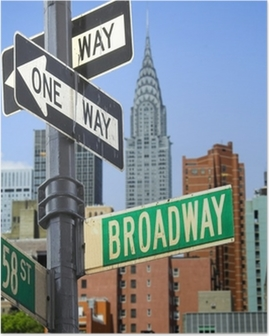 Broadway sign in front of New York City skyline Poster