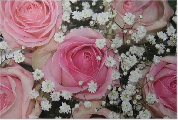 Poster Bröllop arrangemang med rosa rosor - Firande