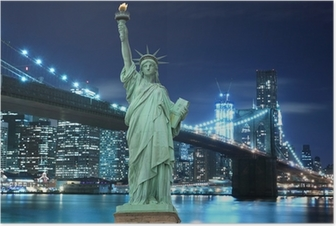 Brooklyn Bridge and The Statue of Liberty at Night Poster