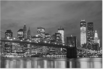 Poster Brooklyn Bridge en Manhattan Skyline At Night, New York