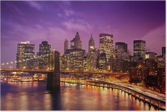 Poster Brooklyn Bridge met uitzicht op Manhattan