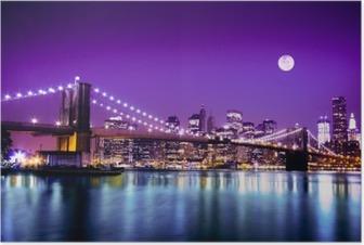 Poster Brooklyn Bridge och New York horisont med fullmånen