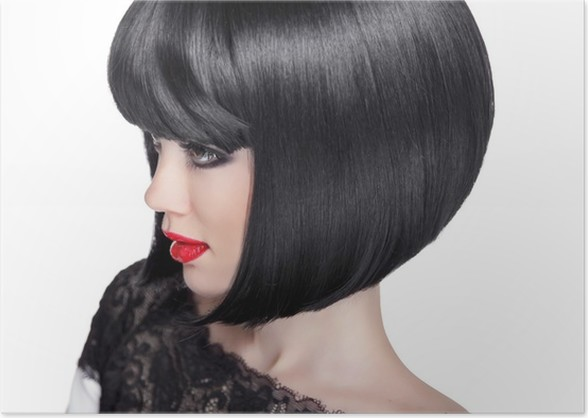 Brunette Woman Portrait Black Short Hair Style Fashion Beauty