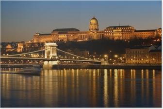 Póster Budapest en la noche.