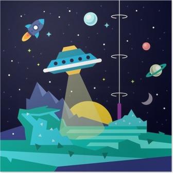 Poster Buitenaardse planeet ruimte landschap met ufo