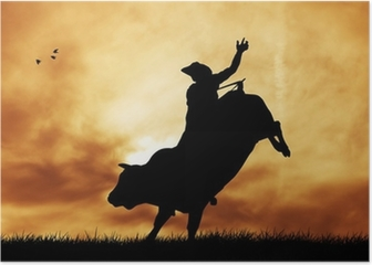 Bull rider at sunset Poster