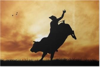 Poster Bull ryttare vid solnedgången