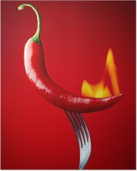 burning red chili pepper on red background Poster