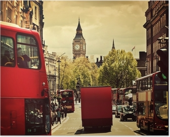 Busy street of London, England, the UK. Red buses, Big Ben Poster