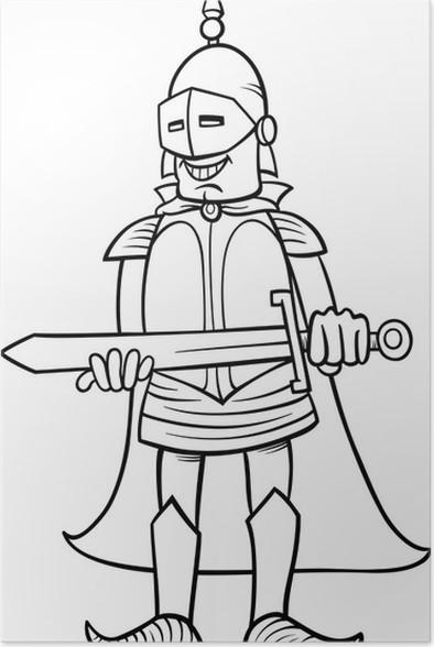 Póster Caballero con la espada para colorear dibujos • Pixers ...
