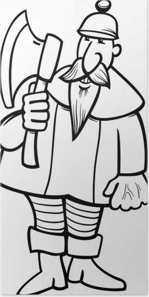 Póster Caballero con la página para colorear dibujos hacha • Pixers ...