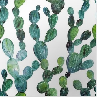 Cactus pattern in watercolor style Poster