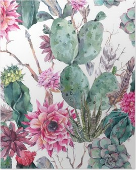 Cactus watercolor seamless pattern in boho style. Poster