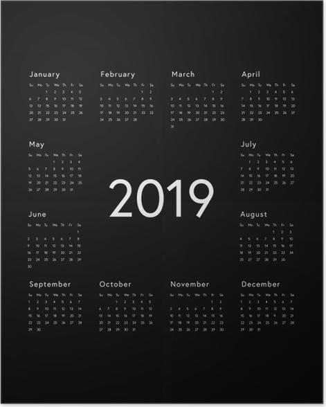 Calendar 2019 - Black and white Poster - Calendars 2019