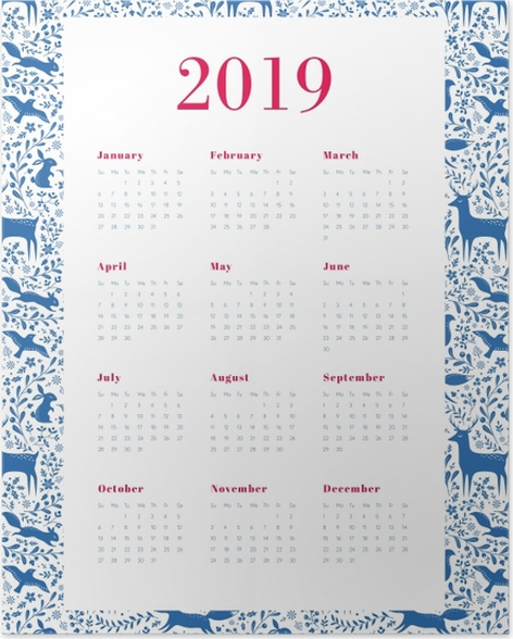 Calendar 2019 - Blue and white Poster - Calendars 2019