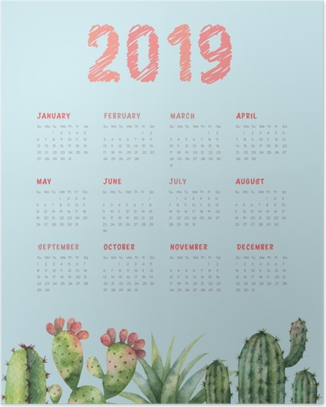 Calendar 2019 - cactus and turquoise Poster - Calendars 2019