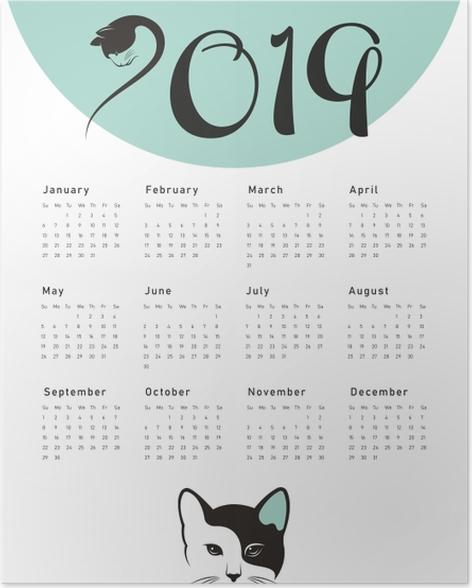 Calendar 2019 - cat Poster - Calendars 2019
