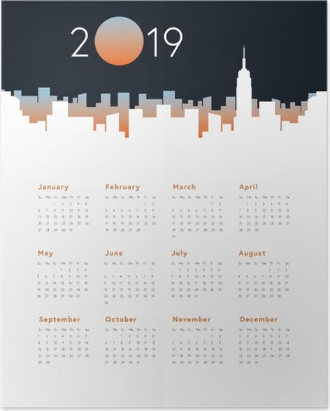 Calendar 2019 - City panorama Poster - Calendars 2019