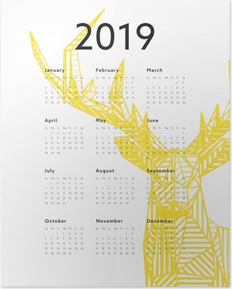Calendar 2019 - deer Poster - Calendars 2019