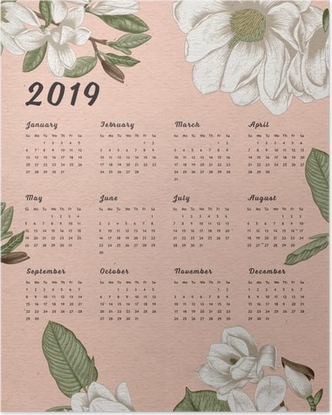Calendar 2019 - Flowers Poster - Calendars 2019